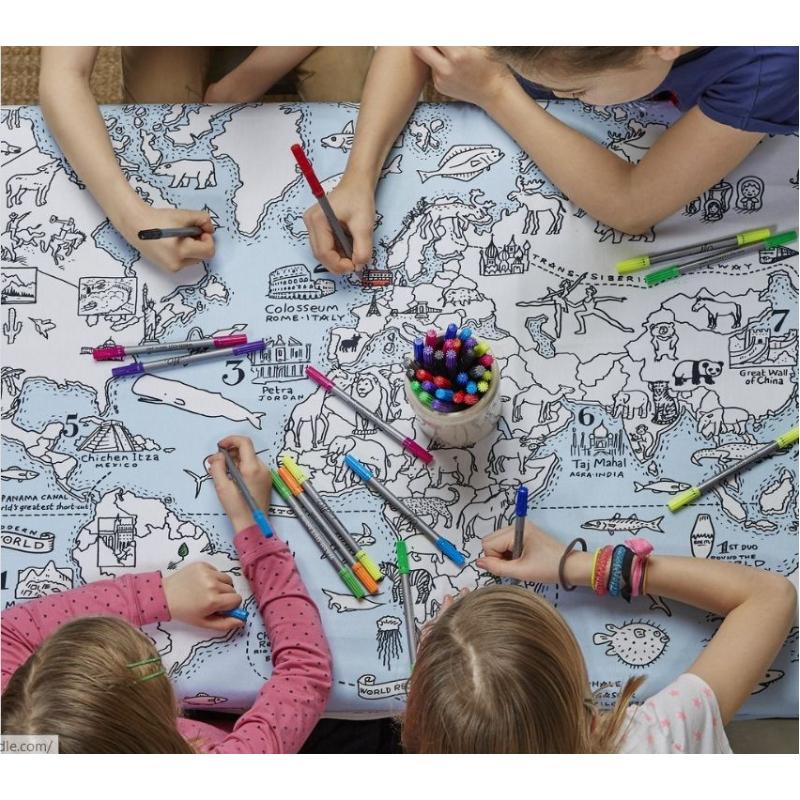 tafelkleed wereldkaart om in te kleuren