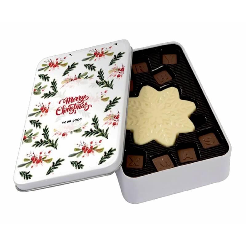 Blik met kerst chocolade