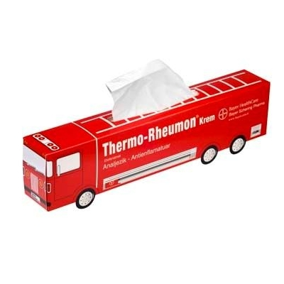 Tissue box in de vorm van een bus of bestelwagen