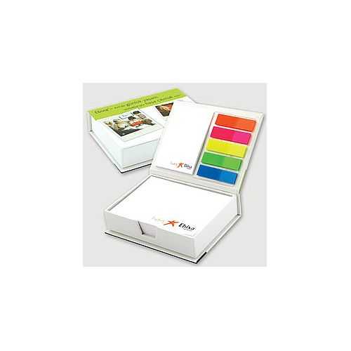 Hard cover box with sheets, index and sticky notes