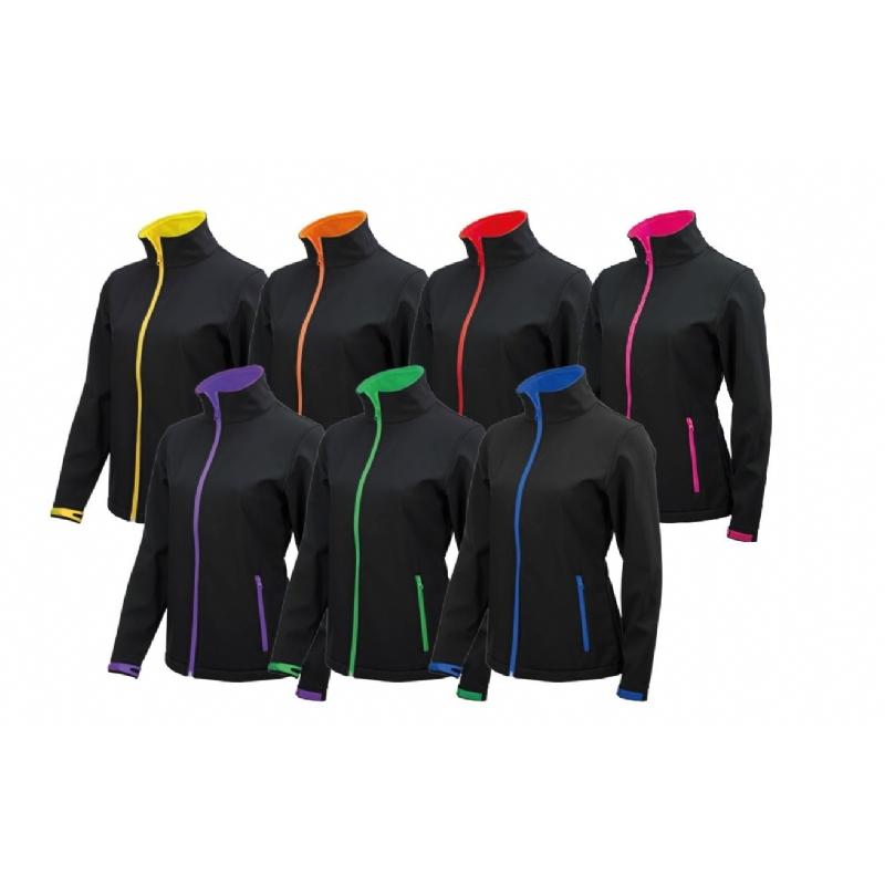 Softshell jas vrouwen met kleurige accenten
