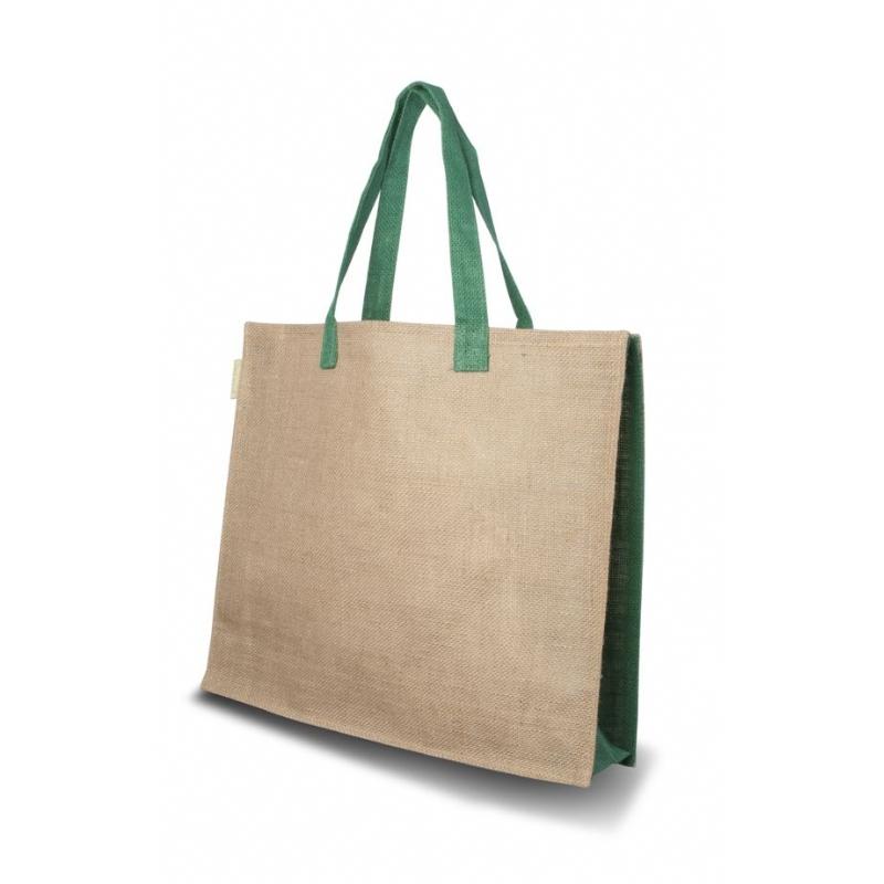 Twee kleurige jute tas model Green
