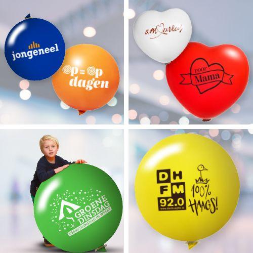 Bedrukte reuze ballonnen in vele kleuren en vormen
