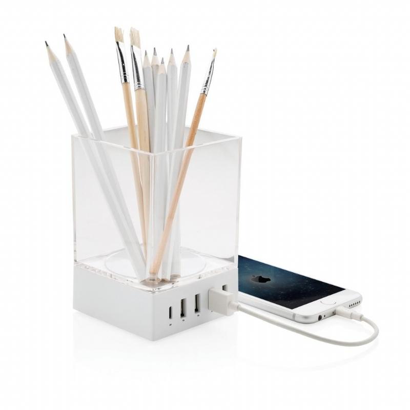 Pennenbakje met USB oplader, wit
